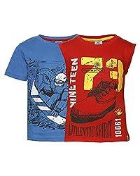 Punkster Red & Blue T-Shirt Combo For Boys