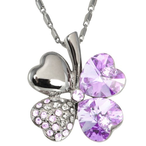 Swarovski Elements 18k White Gold Plated Crystal Four Leaf Clover Cubic Zirconia Pendant Necklace   Amethyst Purple