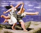 The Museum Outlet - Deux-femmes-courant-sur-la-plage - Canvas Print Online Buy (30 X 40 Inch)