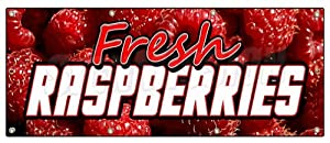 "36""x96"" FRESH RASPBERRIES BANNER SIGN raspberry fresh fruit berries signs"