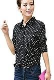 シャツ レディース 水玉 ドット柄 黒 長袖 ブラウス シフォン フォーマル カジュアル 襟付き ビジネス オフィス 5サイズ M