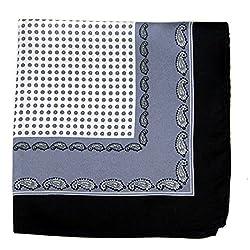 PS-A-628 - Silk Pocket Square - Black - Gray