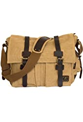 Military Canvas Shoulder Messenger Bag with Leather Straps