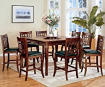 Hot Sale Dark Cherry Counter Height Table with 8 Barstools 9pc Dining Table Set & Lazy Susan