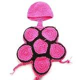 Foxnovo Süß Schildkröte Stil Baby Kleinkind Neugeborenen Handmade gehäkelt Beanie Hut Kleidung Baby Fotografie Requisiten (rosarot)