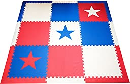 SoftTiles Stars Patriotic Interlocking Foam Large Children\'s Playmat Red White and Blue 78\