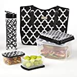 Signature Collection Perth Insulated Carry-All Bag with Matching Lunch Set (Black & White Ikat Tile)
