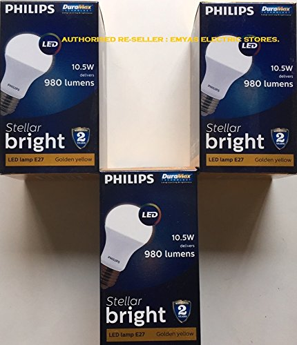 Stellar Bright 10.5W E27 980L LED Bulbs (Warm White, Pack of 3)
