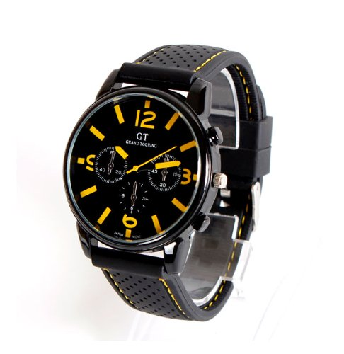 Wmicro Newest Racing Gt Grand Touring Men Black Alloy Round Dial With Yellow Handle Wrist Watch Quartz Wristwatch Cool Sports Gift