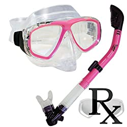 Prescription Purge Mask Dry Snorkel Snorkeling Scuba Diving Combo Set, PK