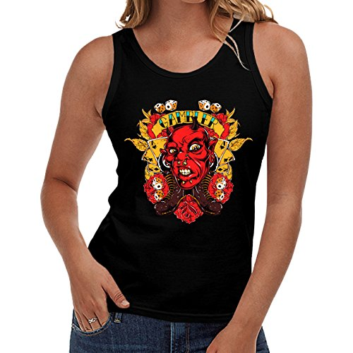 Wellcoda | Gambler Devil Monster Face Womens NEW Tank Top Black S-2XL