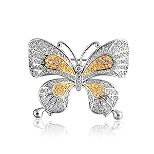Bling Jewelry Vintage Style Two Tone Pave CZ Butterfly Pin Brooch