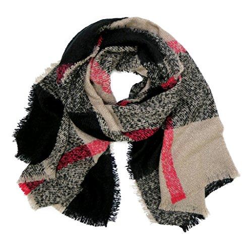 accessu-Echarpe-Foulard-pour-Femme-High-Fashion-Woven-Autumn-Winter-Check-Design-beigered