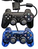 Donop® Black and Blue a Pair of Wired Game Pad Game Gaming Controller Joypad Gamepad Console Controller Joysticks Black Compatible with Sony Playstation 2 Ps2 w/ Dual Shock Dual Vibration Ps2