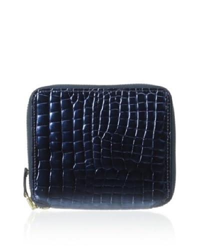 AEON Women's Small Zip Wallet, Blue Metallic Croc