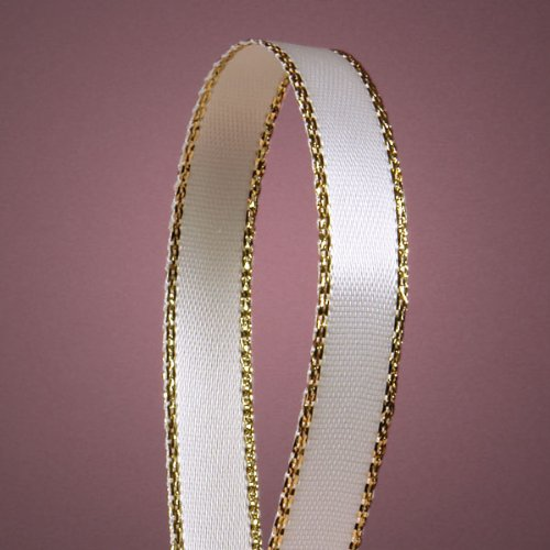 "White Satin Ribbon with Gold Edges, 3/8"" X 50Yd"