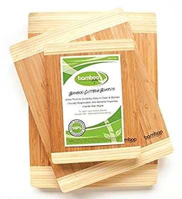 Bamboo Style's® Premium 3 Piece Bamboo Cutting Boards. Eco-friendly Kitchen Chopping Boards Made to Last!