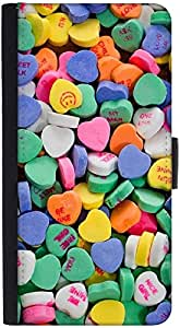 Snoogg Daily Candy Graphic Snap On Hard Back Leather + Pc Flip Cover Htc Desi...