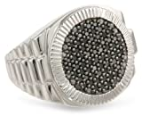 Mens Sterling Silver and Black Diamond Ring (1/2 cttw)