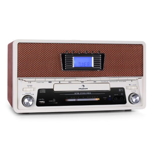 Auna RR-36 Retro Radiowecker Nostalgie Wecker Stereoanlage (USB-SD-Slot, MP3-CD-Player, UKW/MW) braun