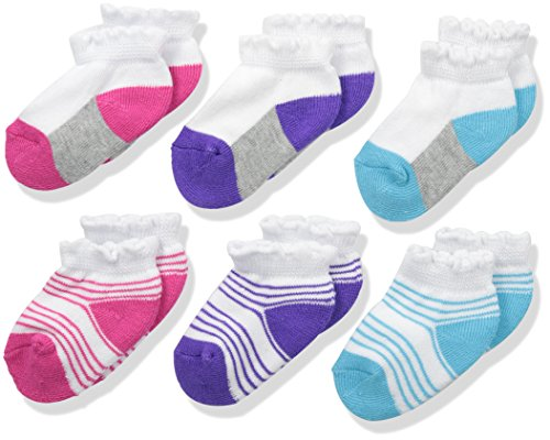 Fruit Of The Loom Baby Girls' 6 Pack Low Cut Socks, Assorted,3-5