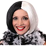 EVIL DOG LADY FANCY DRESS WIG HALF BLACK HALF WHITE BOB WIG PERFECT FOR CRUELLA DE VIL FANCY DRESS