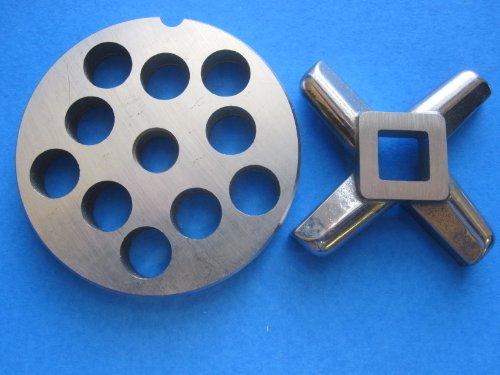 """#12 x 1/2"""" Meat Grinder grinding plate AND knife SET for Hobart LEM Cabelas MTN Torrey etc. *Stainless Steel*"""