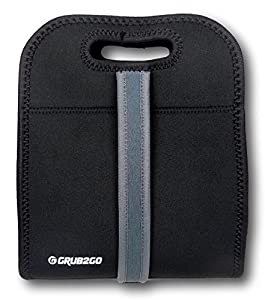 Neoprene Lunch Bag w/ Strap by GRUB2GO - Insulated, Machine Washable, Waterproof Tote from GRUB2GO