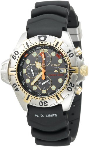Citizen Men's BJ2004-08E Eco-Drive Aqualand Two-Tone Black Rubber Strap Dive Watch
