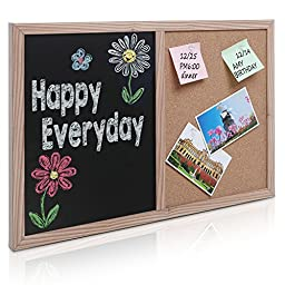 24 x 16 inch Natural Wood Framed Wall Mounted Black Chalkboard & Pushpin Bulletin Cork Board Combo