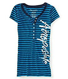 Aeropostale Womens Stripes Henley Shirt 484 S