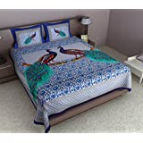 Maruti PRINTS Peacock Printed Blue Cotton Double Bedsheet (With Pillow Covers)