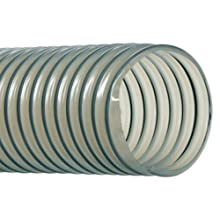 "Hi-Tech Duravent Vac-U-Flex TPU Series Polyurethane Vacuum Hose, Clear, 4"" ID, 4-7/16"" OD, 25' Length"