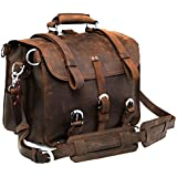 Polare Mens Thick Top Layer Real Cow Leather Outdoor Shoulder Briefcase Attache 17 Inch Laptop Bag Tote