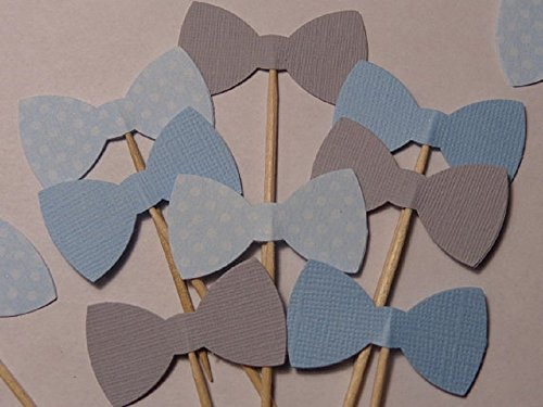 Light Blue and Grey Bow Tie Cupcake Toppers - Blue Polka Dots - Food Picks - Party Picks - Baby Shower Toppers - Bowtie Toppers (Set of 24) (Lil Mustache Baby compare prices)
