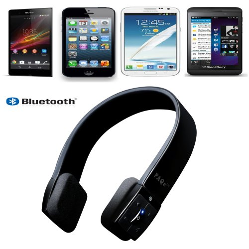 Bluetooth Headset | High Quality Wireless Stereo Sports Headphones | Best Cordless Handsfree Earpiece Microphone Headband Which Work with Sony, Apple Ipod Touch, Iphone 4, 4s,5, Ipad, Htc, Samsung, Galaxy Tab, Pc, Motorola, Samsung, Lg , Nokia | Top Price for Computer, Ps3, Smartphones, Tablets & Mp3 Players, Skype | By FAQ Electronics FAQ Electronics Bluetooth Headsets autotags B00D3T8L1A