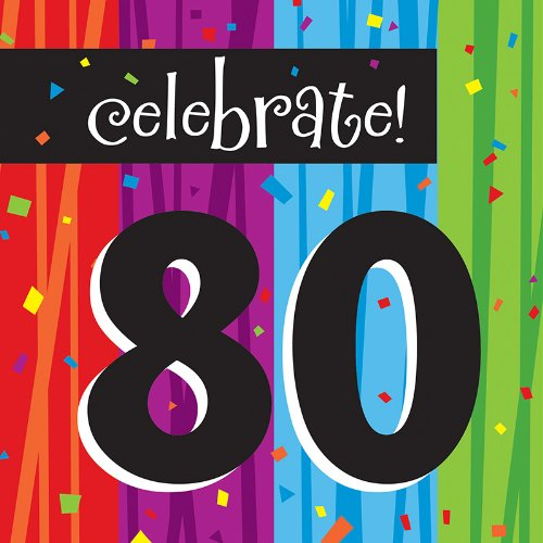 Creative Converting Milestone Celebrations Luncheon Napkins, 16-Count, Celebrate 80