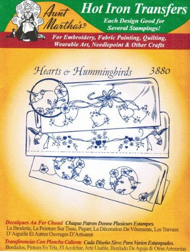 Hearts & Hummingbirds Aunt Martha's Hot Iron Embroidery Tran