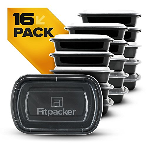 Fitpacker USA Meal Prep Containers BPA-Free Plastic Microwavable Stackable Reusable, Dishwasher & Freezer Safe - Lunch Box, Portion Control & Food Storage containers (Set of 16) (Meal Prep Containers Bpa compare prices)