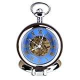 Orkina Vintage Silver Color Hand-Wind Mechanical Blue Hollow Dial Roman Numerial Pocket Watch