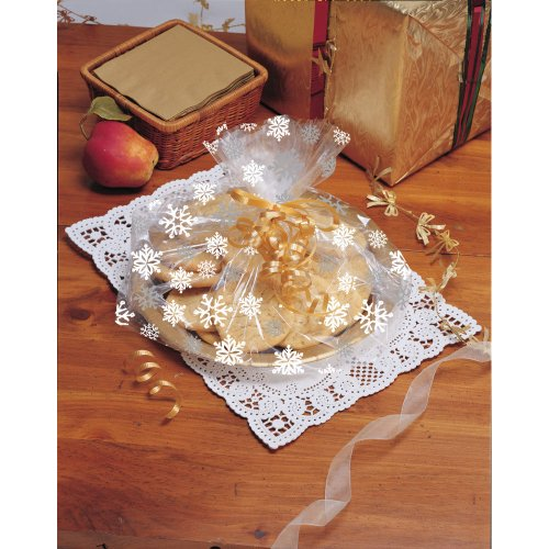 Creative Converting Cello Goodie Bags Fits Plates and Pie Tins, Snowflake Design, 6 Bags Per Package