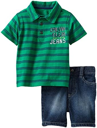 Calvin Klein Baby-Boys Infant Striped Top with Short, Green, 18 Months