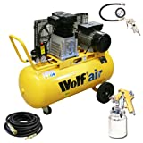 Wolf Dakota 90 Litre, 3HP, 14CFM, 240v, MWP 150psi, 10BAR Twin Cylinder Pump Belt Driven Air Compressor + New Ultimate Kit Includes: 10 Metre Heavy Duty Rubber Air Hose , Gold Syphon Feed Spray Gun and Air Tyre Inflator