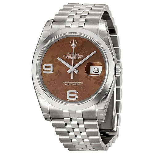 Rolex Datejust Bronze Floral Automatic Stainless Steel Ladies Watch 116200BRFAJ