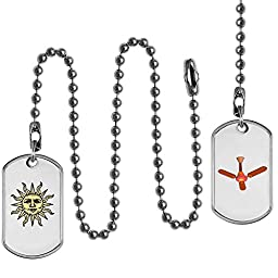 Ceiling Fan Pull Chain Set, Sunny Face and Resting Fan Design on Dog Tags