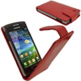 IGadgitz Red Leather Case Cover Holder for Samsung Wave 3 Bada 2.0 S8600 Smartphone Mobile Phone + Screen Protector