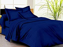 Trance Home Linen 210 TC Cotton Duvet Cover with 2 Pillow Covers - King Size,Ink Blue