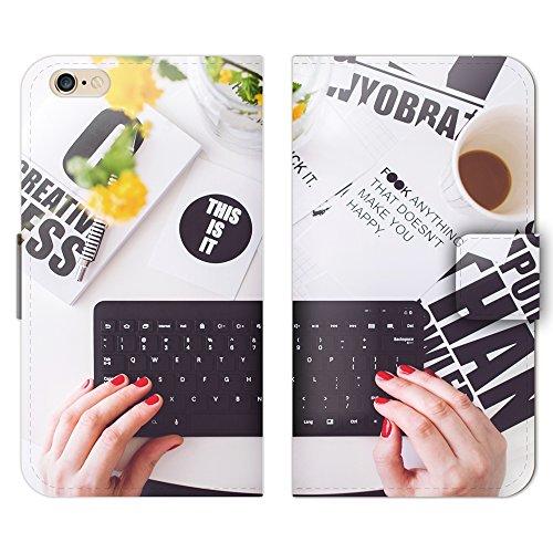 風景・景色 手帳型 iPhone 5c iphone5c (P001601_05) コーヒー キーボード PC スマホケース アイフォン 各社共通