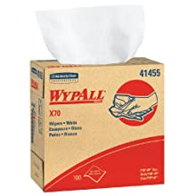 "Kimberly-Clark WypAll 41455 Disposable X70 Wiper, 9.1"" Width x 16.8"" Length, White (10 Boxes of 100)"