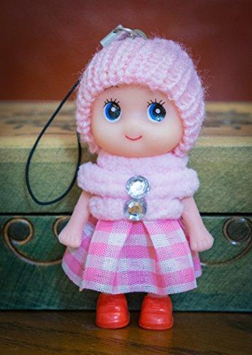 Ciondolo portachiavi a forma di bambolina carina con gonna in lana, stivali e pompon, in morbido cotone lavorato a maglia, con pietre sintetiche, rosa, 8cm heads to toes